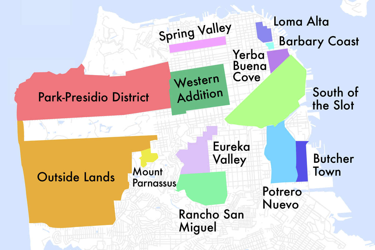 San Francisco map showing the former names of city neighborhoods.