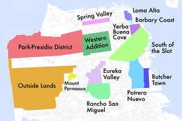 San Francisco map showing former names of neighborhoods