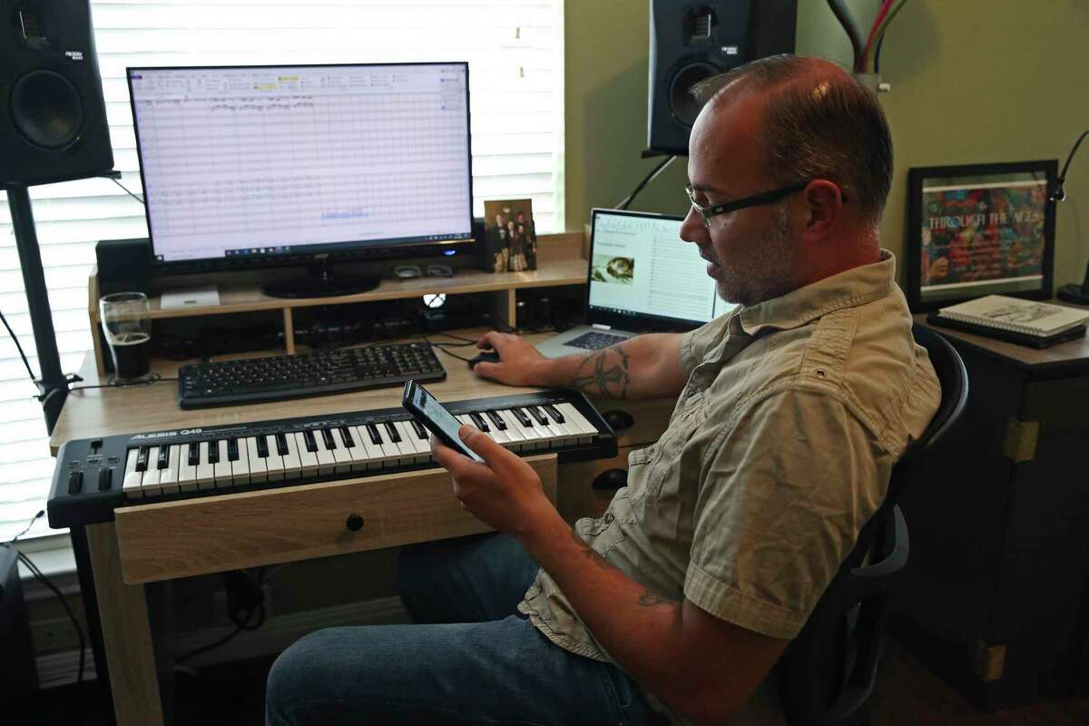 Clarinetist and composer Joe Samuel, 45, logs his vitals Friday, nearing the end of a self-quarantine at his Stone Oak area house. He was in Urbino, Italy, in late February when he got word from UTSA that his three-month trip to study at the Rossini Conservatory of Music in nearby Pesaro would be ended due to the spread of the coronavirus.