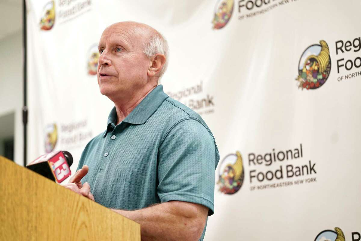 Mark Quandt, executive director of the Regional Food Bank of Northeastern New York, speaks at a press conference on Monday, March 16, 2020, in Colonie, N.Y. (Paul Buckowski/Times Union)
