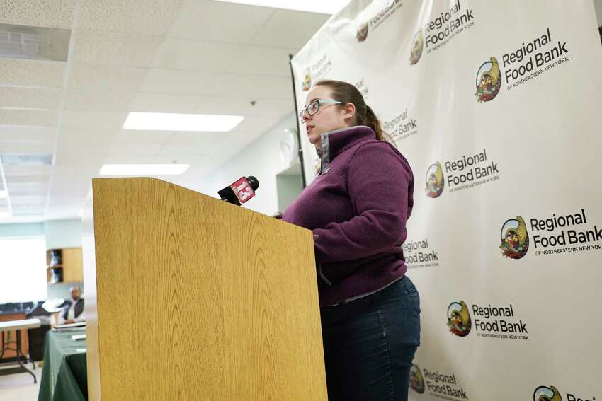 Betsy Dickson, director of the Children's Programs at the Regional Food Bank of Northeastern New York, speaks about the increase in the need for the school backpack food program at a press conference on Monday, March 16, 2020, in Colonie, N.Y. The backpack food program gets food items for students to take home so they have food on the weekends. (Paul Buckowski/Times Union)