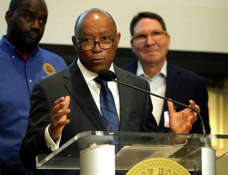 Houston Mayor Sylvester Turner speaks during a news conference at Houston City Hall Monday, March 16, 2020, in Houston. He with representatives from grocery store chains joined to discuss panic buying and discourage stockpiling of groceries and supplies. Photo: Melissa Phillip, Houston Chronicle / Staff Photographer / © 2020 Houston Chronicle