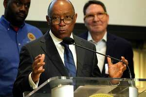 Houston Mayor Sylvester Turner speaks during a news conference at Houston City Hall Monday, March 16, 2020, in Houston. He with representatives from grocery store chains joined to discuss panic buying and discourage stockpiling of groceries and supplies.