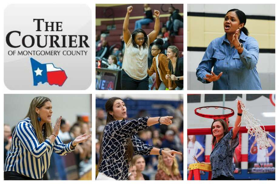 Magnolia West's Darcie Moore, Conroe's Tamisha Houston, New Caney's Tricia Mize, Lake Creek's Britni Coselli and Oak Ridge's Deidre Vasquez are The Courier's nominees for Coach of the Year. Photo: Staff Photos