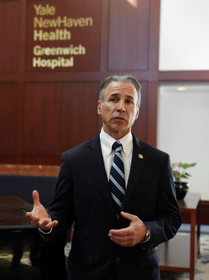 Greenwich First Selectman Fred Camillo speaks last week at Greenwich Hospital. Camillo continues to update Greenwich residents daily. Photo: Tyler Sizemore / Hearst Connecticut Media / Greenwich Time