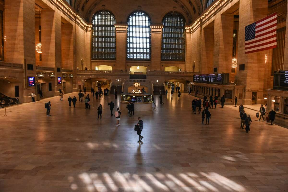 Pedestrian traffic is light through Grand Central Terminal on Mar. 15, 2020 in New York City.