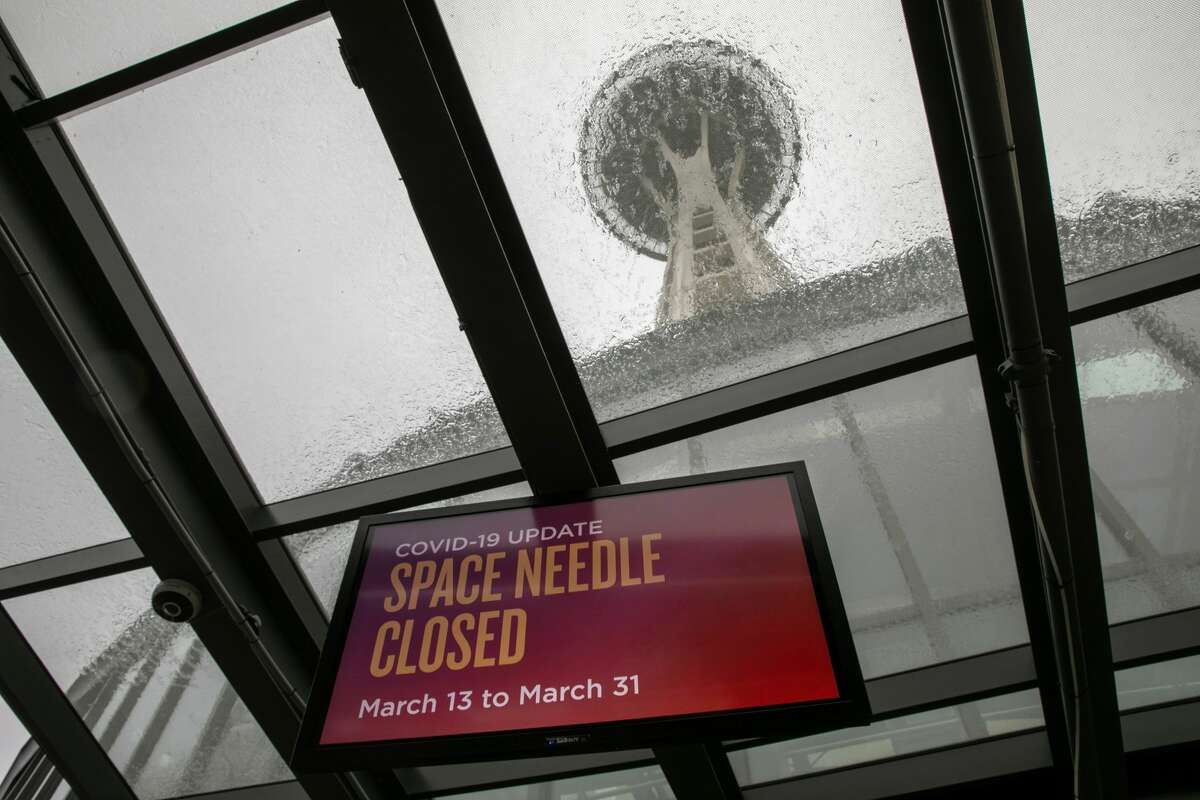 A sign alerts visitors that the Space Needle is closed due to coronavirus precautions on Mar. 14, 2020 in Seattle.