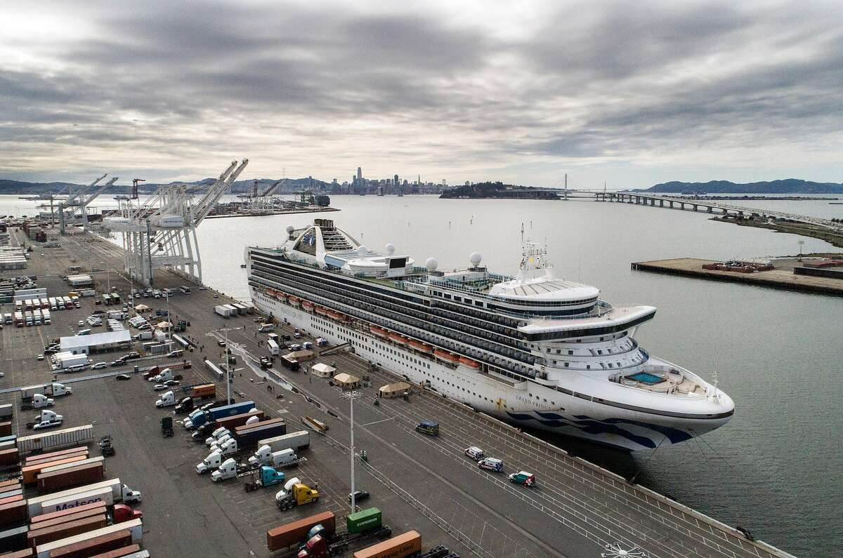 The Grand Princess cruise ship is berthed at the Ports America docks at the Port of Oakland on Monday, March 9, 2020.