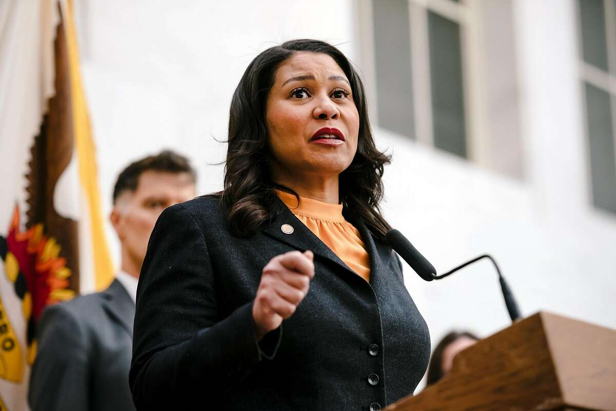 Mayor London Breed during a press conference at City Hall in San Francisco on March 16, 2020.