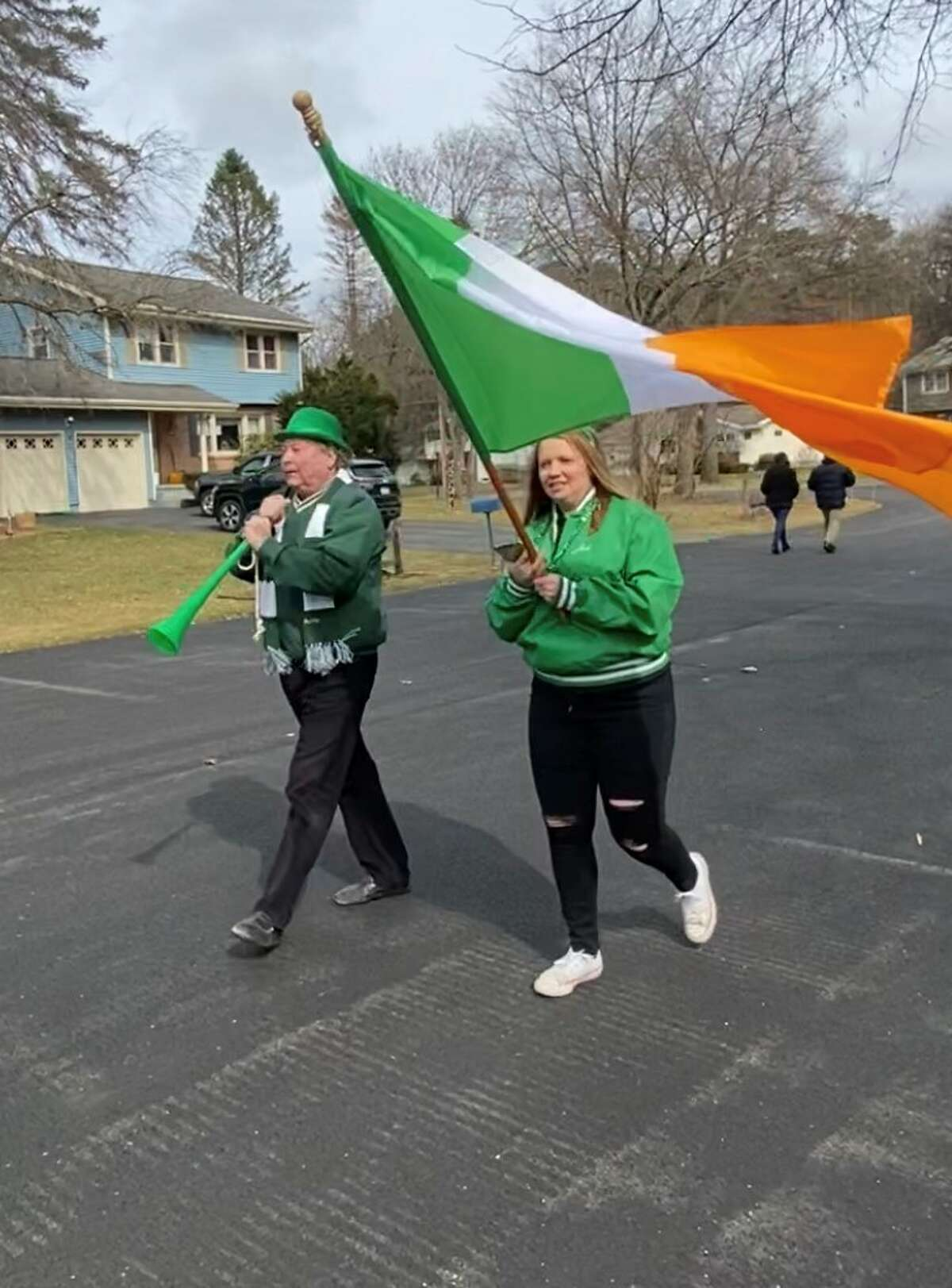Shane Somerville of Loudonville and Molly Harbour of Menands held a St Patrick's Day Parade in Loudonville in place of the canceled Albany parade. (Beth Harbour)