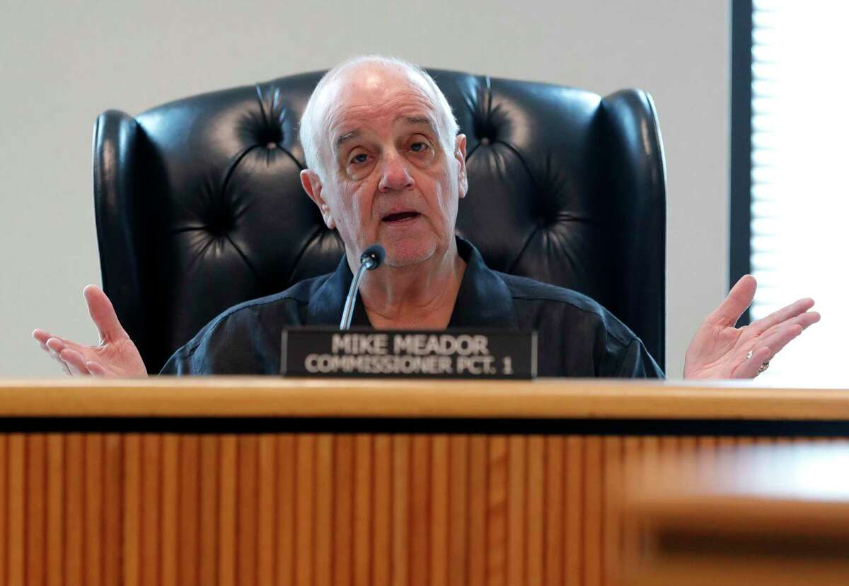Montgomery County Precinct 1 Commissioner Mike Meador speaks during a special session of the Montgomery County Commissioners Court called after county health officials announced the second presumptive positive case of COVID-19, Thursday, March 12, 2020, in Conroe.