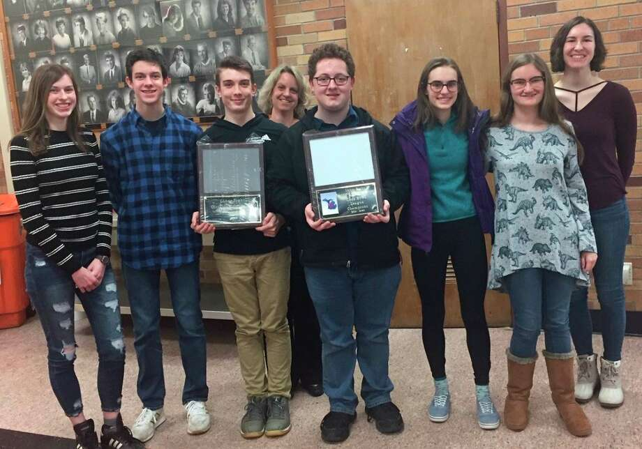 The Manistee High School Quiz Bowl team under coach Polly Schlaff captured the Lakes 8 Division I and II conference championships this year. (Courtesy photo)