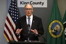 Washington Gov. Jay Inslee addresses a news conference about the coronavirus outbreak Monday, March 16, 2020, in Seattle. Inslee ordered all bars, restaurants, entertainment and recreation facilities to temporarily close to fight the spread of COVID-19 in the state with by far the most deaths in the U.S. from the disease. (AP Photo/Elaine Thompson, Pool)