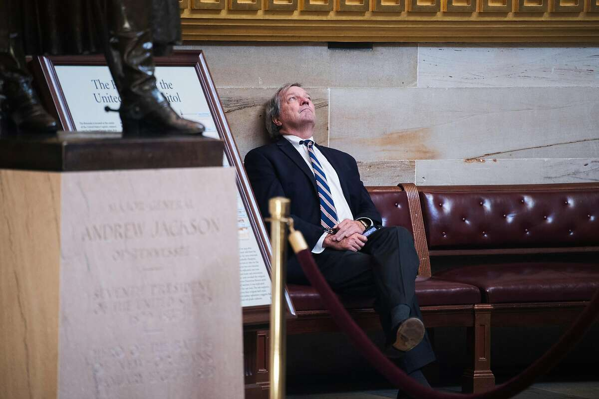 UNITED STATES - SEPTEMBER 27: Rep. Mark DeSaulnier, D-Calif., is seen in the Capitol Rotunda during the last House votes of the week on Friday, September 27, 2019. (Photo By Tom Williams/CQ-Roll Call, Inc via Getty Images)