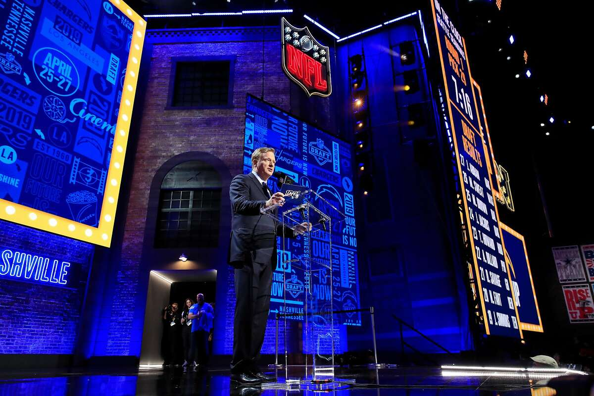 NASHVILLE, TENNESSEE - APRIL 25: NFL Commissioner Roger Goodell speaks during the first round of the 2019 NFL Draft on April 25, 2019 in Nashville, Tennessee. ~~