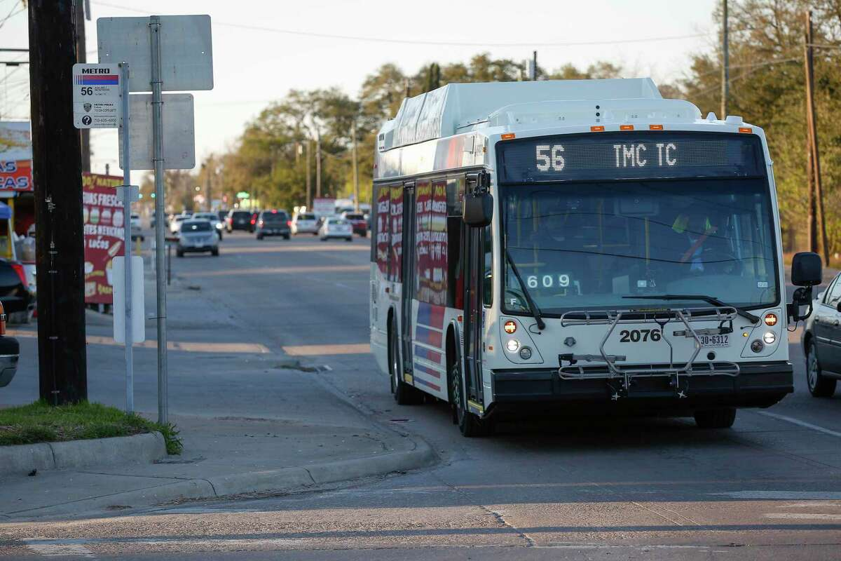 A Metro Route 56 bus passes a stop at Canino and Airline on Feb. 26, 2020, in Houston.