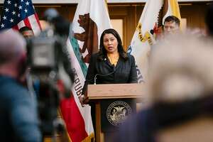 Mayor London Breed announces that the Health Officer of the city and county of San Francisco has issued a public health order requiring that residents remain in place, with the exception being for essential needs only, in response to the heightened threat of the Coronavirus, during a press conference at City Hall in San Francisco, California, US, on Monday, March 16, 2020.