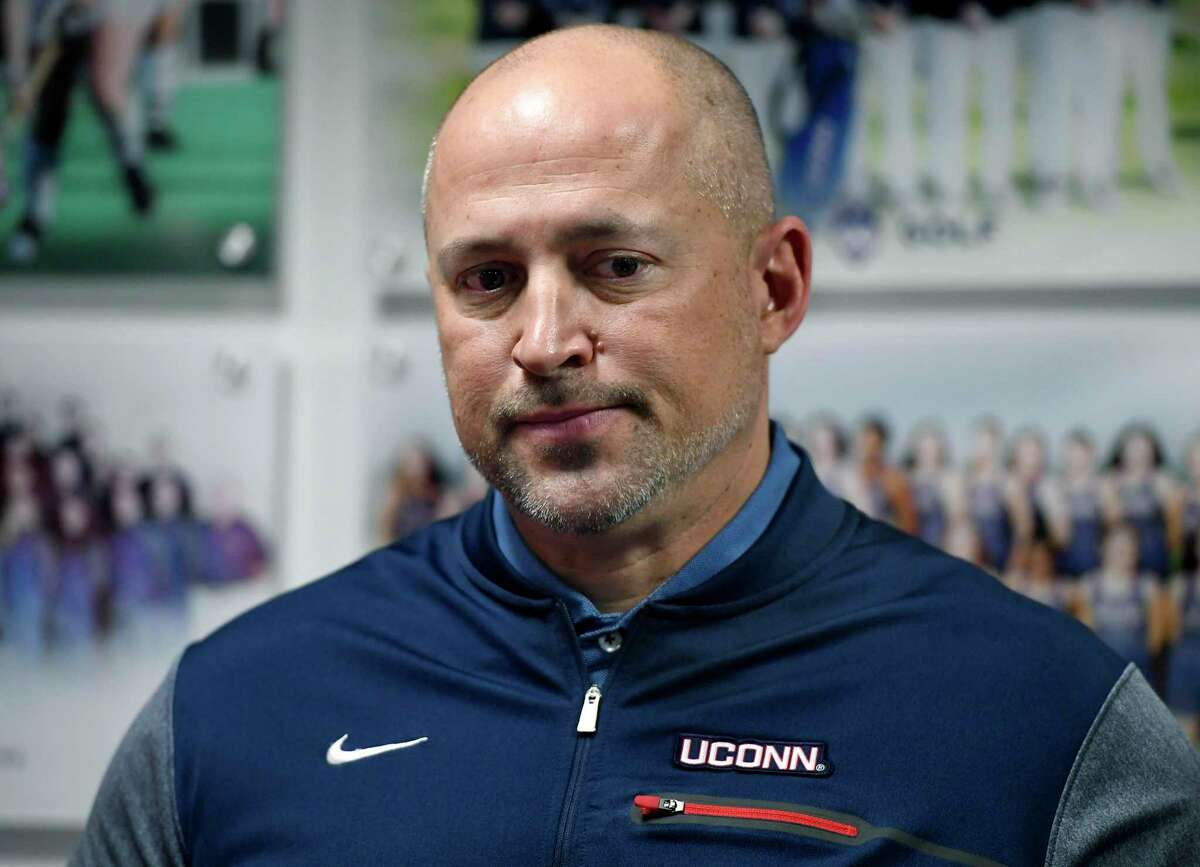 Connecticut athletic director David Benedict holds a news conference in his office at the University of Connecticut, Saturday, Jan. 19, 2019, in Storrs, Conn. (AP Photo/Jessica Hill)