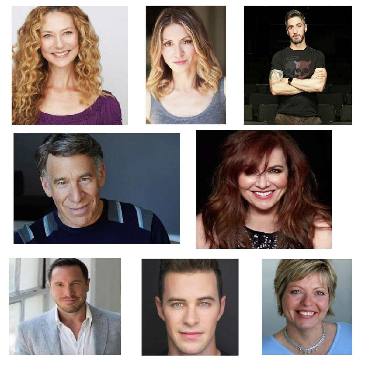 ACT of CT and The Ridgefield Playhouse will livestream a show featuring Broadway performers and others on March 20. The entertainers, from top left, are Juliet Lambert Pratt, Laura Woyasz and Bryan Perri. From middle left are Stephen Schwartz and Debbie Gravitte. From bottom left are Matt Farnsworth, Sam Gravitte and Daniela Sikora.