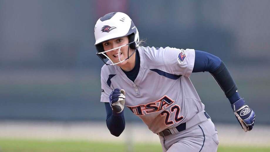 UTSA's Riley Grunberg runs during an NCAA softball game against North Texas on Sunday, March 8, 2020, in San Antonio. (AP Photo/Darren Abate) Photo: Darren Abate, FRE / Associated Press / FR115 AP
