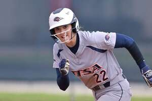 UTSA's Riley Grunberg runs during an NCAA softball game against North Texas on Sunday, March 8, 2020, in San Antonio. (AP Photo/Darren Abate)