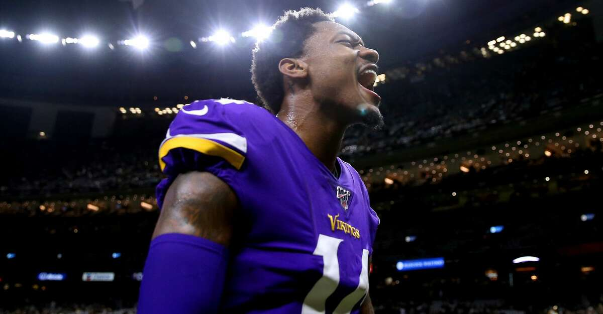 Stefon Diggs #14 of the Minnesota Vikings reacts against the New Orleans Saints during a game at the Mercedes Benz Superdome on January 05, 2020 in New Orleans, Louisiana. (Photo by Jonathan Bachman/Getty Images)