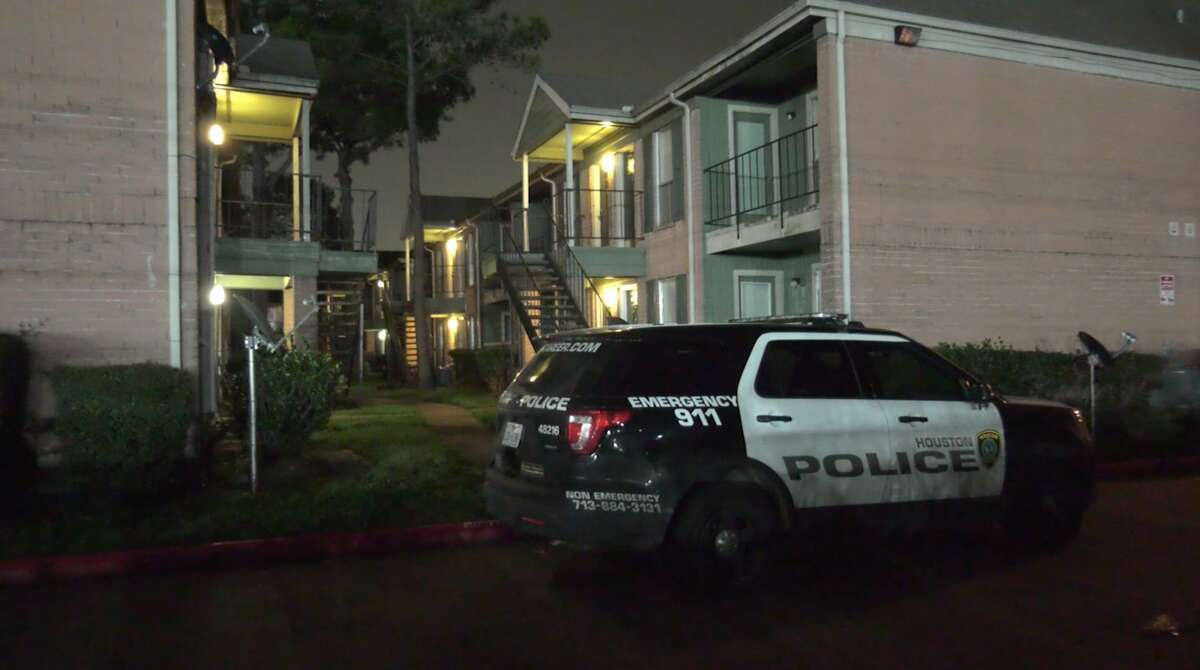 Houston police investigate a shooting in the 1300 block of Greens Parkway on Monday, March 16, 2020.