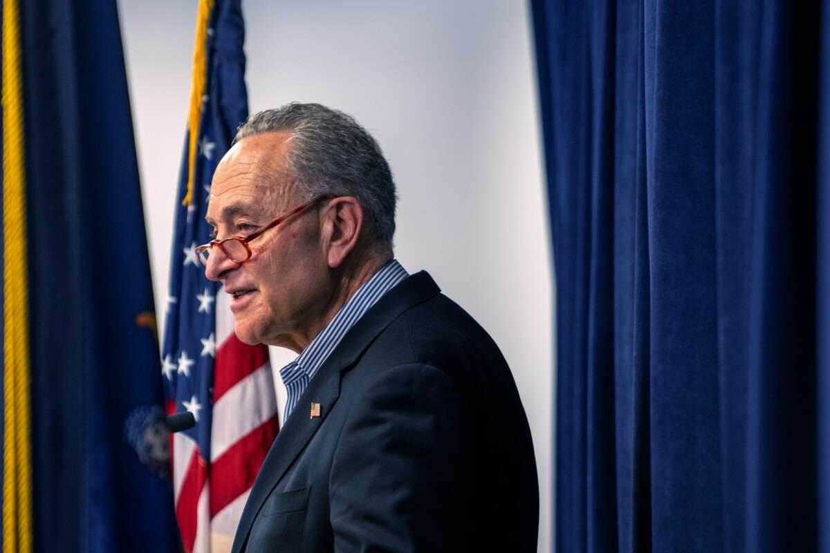 NEW YORK, NY - MARCH 14: U.S. Sen. Charles Schumer (D-NY) speaks during a press conference to ask Senate Majority Leader Mitch McConnell to act on the coronavirus legislation put in front of the Senate on March 14, 2020 in New York City. The House passed the