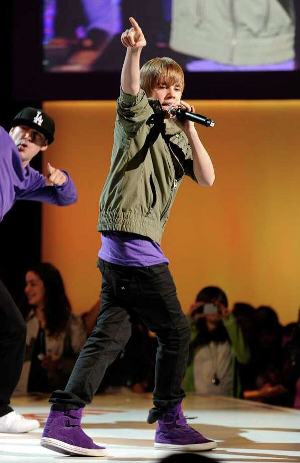 Justin Bieber performs 7:30 p.m. Wednesday at Times Union Center. Here, he's onstage the Nickelodeon 2010 Upfront Presentation at Hammerstein Ballroom on March 11, 2010 in New York City.  (Larry Busacca / Getty Images for Nickelodeon) Photo: Larry Busacca / 2010 Getty Images