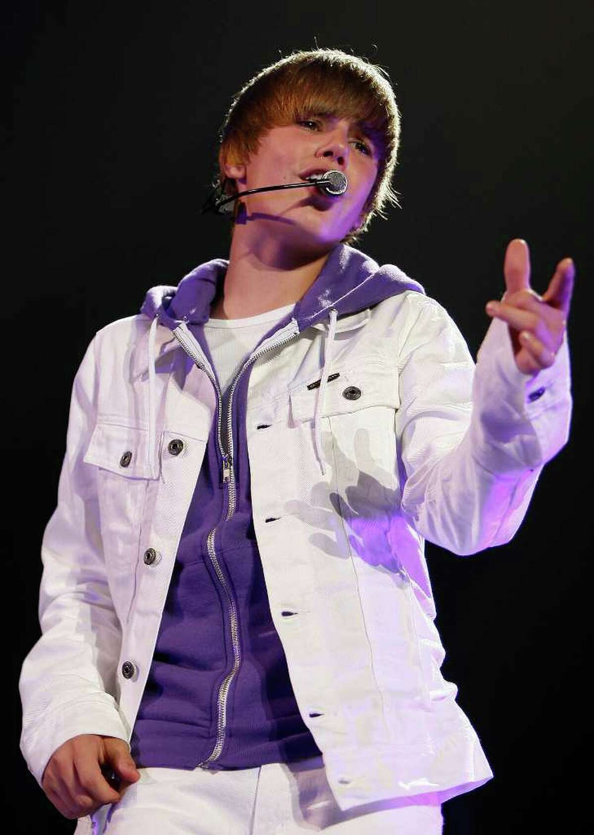 Justin Bieber performs 7:30 p.m. Wednesday at Times Union Center. Here, in this June 24, 2010 file photo, Bieber performs in Trenton, N.J. (AP Photo/Tim Larsen, file)