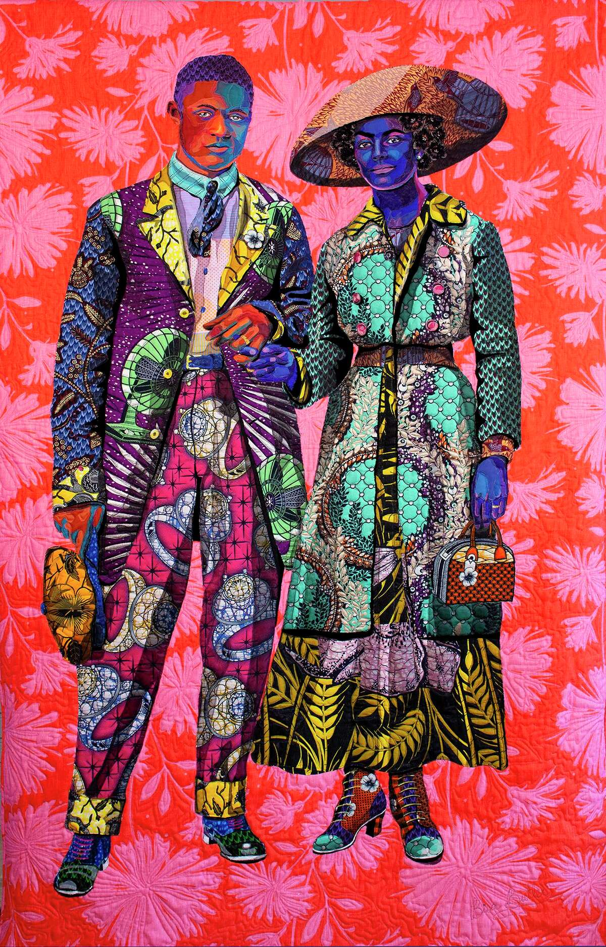"""Bisa Butler is a fiber artist known for depicting African American identity and culture on her vibrant quilts. She will be holding her first solo exhibition at the Katonah Museum of Art. Butler's """"Broom Jumpers"""" was made in 2019 from cotton, silk, wool and velvet."""