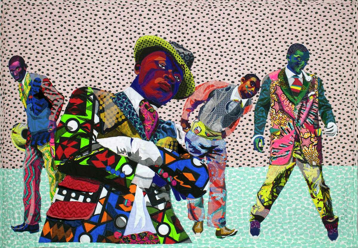 """Bisa Butler is a fiber artist known for depicting African American identity and culture on her vibrant quilts. She will be holding her first solo exhibition at the Katonah Museum of Art. Butler's """"Les Sapeurs was made in 2018 from cotton and silk."""