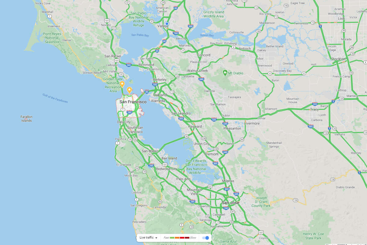 This Google Map shows nearly no traffic on Tuesday, March 17, 2019.