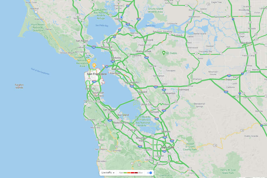 This Google Map shows nearly no traffic on Tuesday, March 17, 2019. Photo: Google Maps