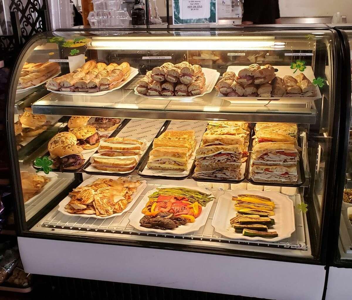 A selection of sandwiches in the deli case of Zanotto's in San Jose.
