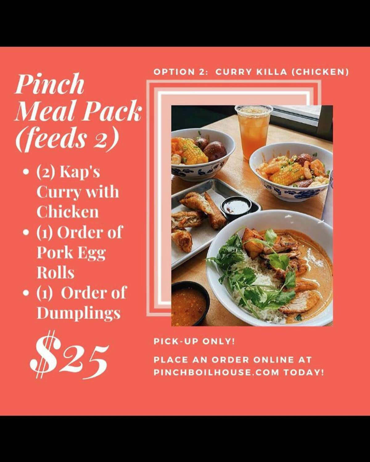 Like many San Antonio restaurants, Pinch Boil House decided to close their dining room and limit business to pick-up or deliveries as the country follows social distancing to prevent the spread of COVID-19. The restaurant has three meal packs available and each option comes with a free roll of toilet paper.