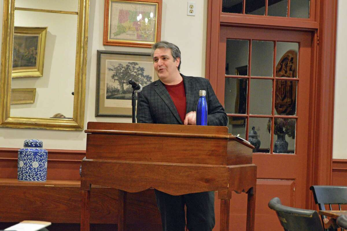 Weston First Selectman Chris Spaulding speaks to the audience about the proposed town operating budget for fiscal year 2019-20 at the Feb. 11 Board of Selectmen meeting.