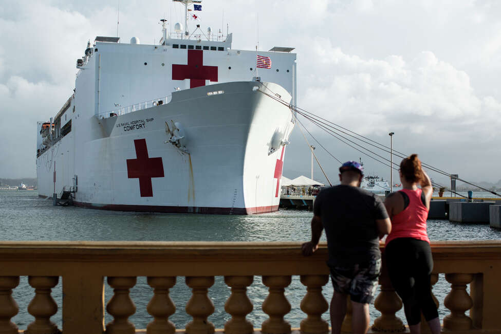 The USNS Comfort, a hospital ship, at the San Juan Cruise Port in Puerto Rico, Oct. 3, 2017. Puerto Rico's official death toll from Hurricane Maria more than doubled from 16 to 34 two weeks after the storm as a result of a full accounting intended to add up the piecemeal reports from around the island, Gov. Ricardo Rosselló of Puerto Rico said Oct. 4. (Erika P. Rodriguez/The New York Times) ORG XMIT: XNYT126