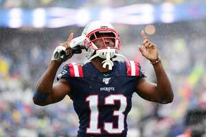 FOXBOROUGH, MASSACHUSETTS - OCTOBER 27: Wide receiver Phillip Dorsett #13 of the New England Patriots prepares for their game against the Cleveland Browns at Gillette Stadium on October 27, 2019 in Foxborough, Massachusetts. (Photo by Billie Weiss/Getty Images)