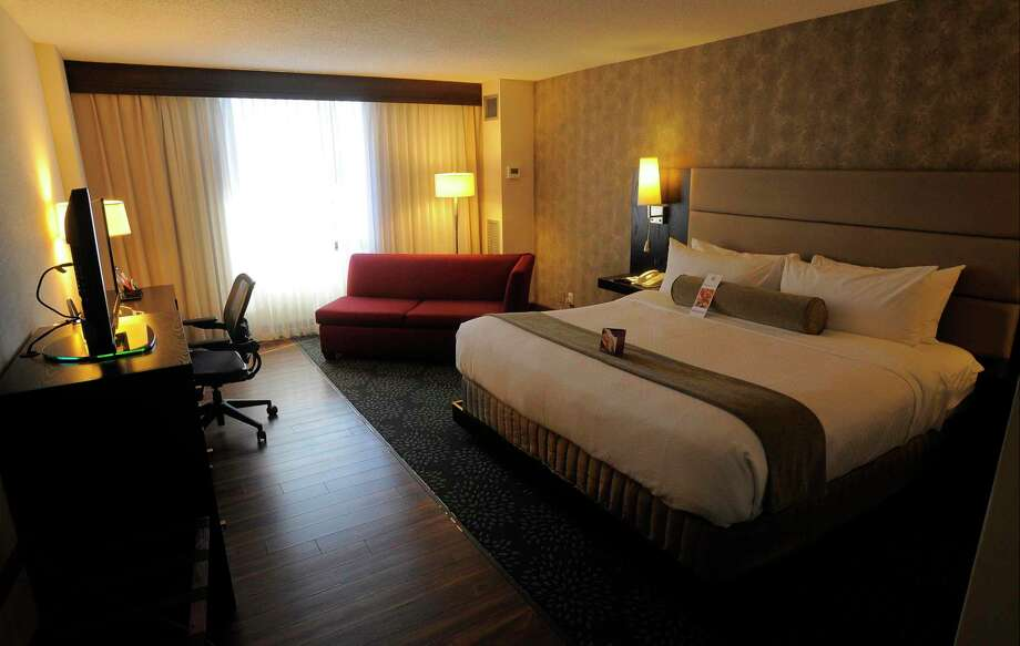 A guest room at the Crowne Plaza hotel in Stamford, Conn. Statewide, Connecticut has 39,000 hotel rooms across about 380 facilities. Photo: Matthew Brown / Hearst Connecticut Media / Stamford Advocate