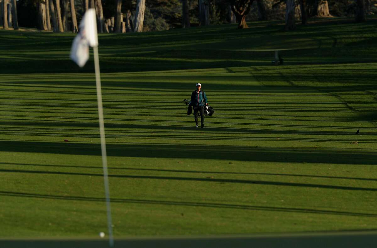 Johnson Lin plays the ninth hole at TPC Harding Park where preparations are underway for the 2020 PGA Championship in San Francisco, Calif., on Monday, March 16, 2020.