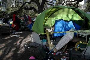 OAKLAND, CA - FEBRUARY 4: A tent is seen as Oakland Public Works Department employees remove debris from a homeless encampment at Mosswood Park in Oakland, Calif., on Tuesday, February 4, 2020. (Jane Tyska/Digital First Media/East Bay Times via Getty Images)