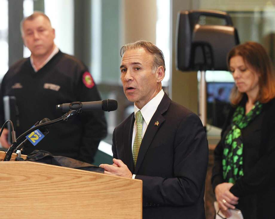 First Selectman Fred Camillo provided another update on coronavirus cases in town as the number of cases surges, but not, as of yet, the number of hospitalizations. Photo: Tyler Sizemore / Hearst Connecticut Media / Greenwich Time
