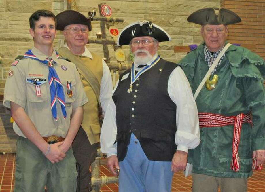 New Eagle Scout Lucas Brown is pictured with GGRC Vice President and Eagle Chairman Richard Ruedin, GGRC President Robert Ridenour and GGRC Compatriot Philip Bailey.