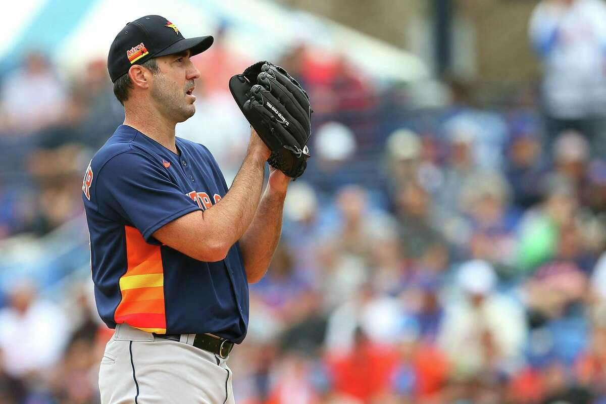 Justin Verlander pitches against the Mets on March 8 in what turned out to be his last start in spring training.