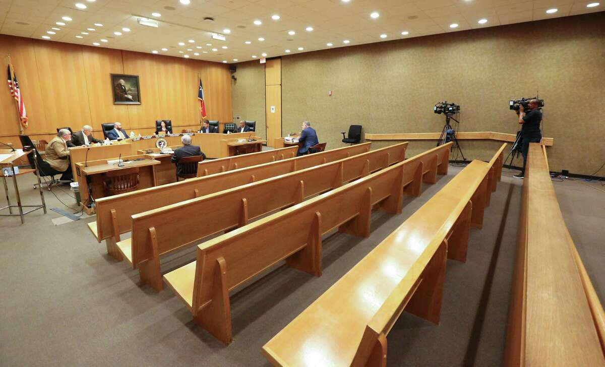 Only 10 people were allowed in the Harris County Commissioner Court emergency meeting due to the Coronavirus (COVID-19) outbreak Tuesday, March 17, 2020, in Houston.