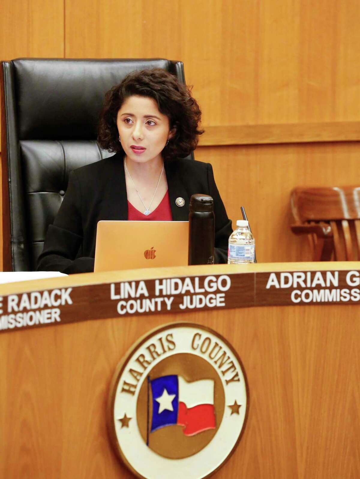 Harris County Judge Lina Hidalgo leads a emergency meeting due to the Coronavirus (COVID-19) outbreak Tuesday, March 17, 2020, in Houston. Only 10 people were allowed in the Harris County Commissioner Court.