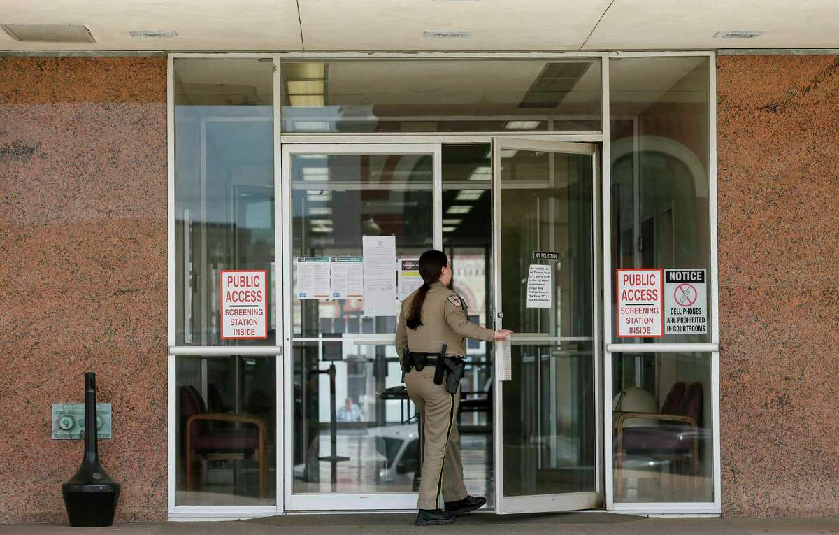 The county started doing health screenings to anyone entering the Matagorda County Court House on Tuesday, March 17, 2020, in Bay City, Texas. The first death in the state caused by the new coronavirus, was a 97-year-old man from Bay City.