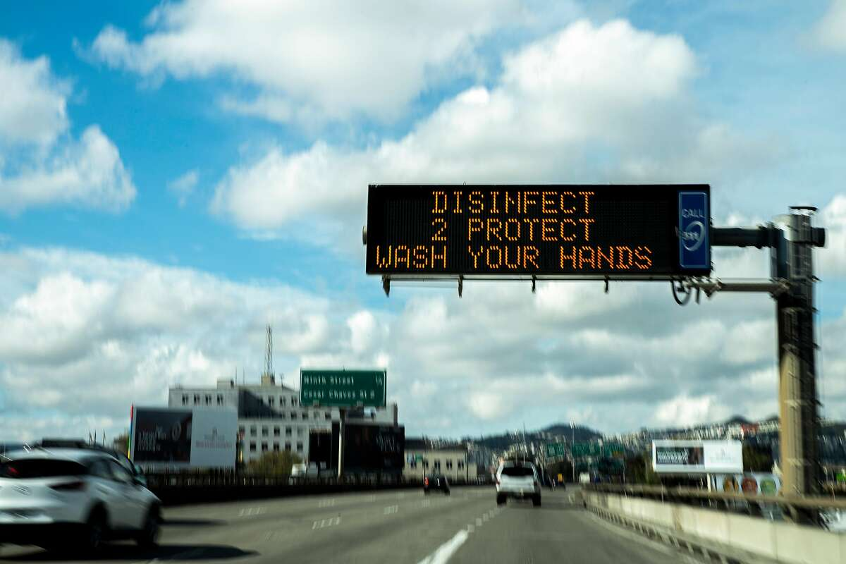 An electronic display along southbound Interstate 80 on Tuesday, March 17, 2020, in San Francisco, Calif.