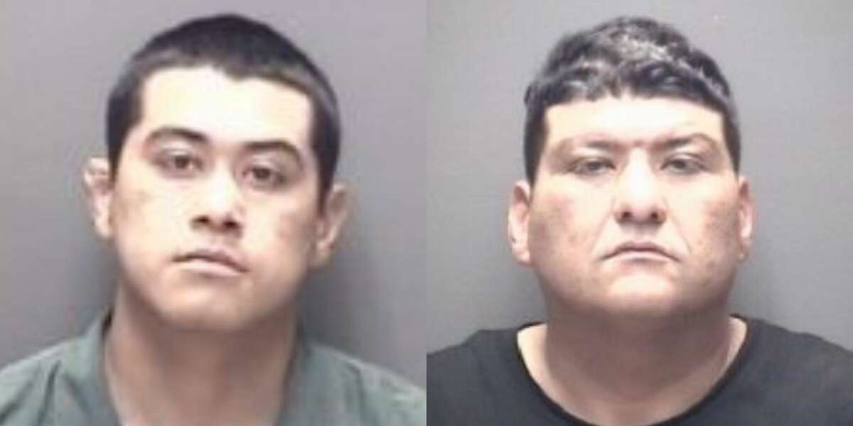 Nathaniel Martinez, 20, (left) and his father, Daniel Martinez, Jr., 42, both of Alvin, were arrested and charged with aggravated assault.
